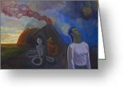 Surrealistic Painting Greeting Cards - Comes the storm Greeting Card by Fernando Alvarez