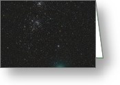 Periodic Greeting Cards - Comet Hartley 2 And The Double Cluster Greeting Card by Rolf Geissinger
