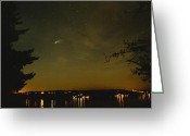 Kitsap Peninsula Greeting Cards - Comet Hyakutake Over Gig Harbor Greeting Card by Michael Williams