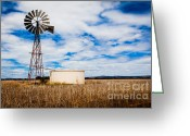 Oceania Greeting Cards - Comet Windmill and clouds Greeting Card by John Buxton