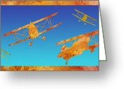 Airplanes Digital Art Greeting Cards - Coming and Going Greeting Card by Jenny Armitage