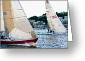 Sailing Fast Greeting Cards - Coming Fast Greeting Card by Tom Dowd