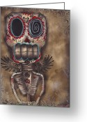 Skull Painting Greeting Cards - Coming for You Greeting Card by  Abril Andrade Griffith