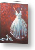 White Dress Mixed Media Greeting Cards - Coming Out Greeting Card by Nicola Hill