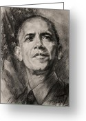 Barack Drawings Greeting Cards - Commander-in-Chief Greeting Card by Ylli Haruni