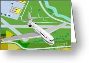 Transit Greeting Cards - Commercial Jet Plane Greeting Card by Aloysius Patrimonio