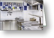 Cupboards Greeting Cards - Commercial kitchen corner Greeting Card by Magomed Magomedagaev