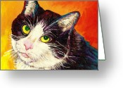 Black And White Photos Painting Greeting Cards - Commission Your Pets Portrait By Artist Carole Spandau Bfa Ecole Des Beaux Arts  Greeting Card by Carole Spandau