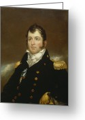 Half Length Greeting Cards - Commodore Oliver Hazard Perry Greeting Card by John Wesley Jarvis