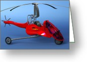 Chopper Greeting Cards - Commuter Helicopter, Computer Artwork Greeting Card by Christian Darkin