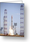 2007 Greeting Cards - Comos Satellite Launch Greeting Card by Ria Novosti