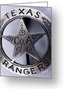 Star Points Greeting Cards - Company A Texas Ranger Badge 1 Greeting Card by Alan Look