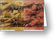 Diagrams Greeting Cards - Comparison Of Dinosaurs Of Triassic Greeting Card by Roy Andersen
