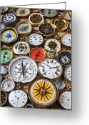 Face Greeting Cards - Compases And Pocket Watches  Greeting Card by Garry Gay