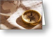 Wall Street Greeting Cards - Compass and Financial Page Greeting Card by Utah Images
