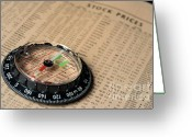 Planning Greeting Cards - Compass on stockmarket cotation in newspaper Greeting Card by Sami Sarkis