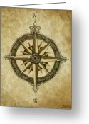 Rose Greeting Cards - Compass Rose Greeting Card by Judy Merrell