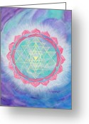 Yantra Greeting Cards - Compassionate Action Greeting Card by Silvia Flores