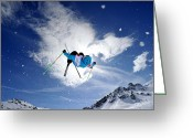 18-19 Years Greeting Cards - Competitive Mogul Skier Jumps Off A Kicker Greeting Card by Agence Zoom