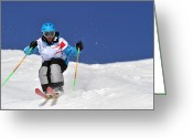 18-19 Years Greeting Cards - Competitive Mogul Skier On A Bumps Course Greeting Card by Agence Zoom