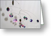 Kinetic Sculpture Greeting Cards - Complexity Style Kinetic Mobile Sculpture Greeting Card by Carolyn Weir