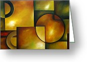 Geometrical Art Painting Greeting Cards - Composition Greeting Card by Uma Devi