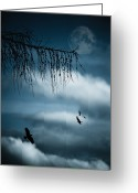 Moon Surface Greeting Cards - Composition With Tree, Moon, Clouds And Birds Greeting Card by Andreas Schott (Bonnix)
