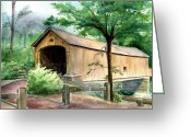 Covered Bridge Painting Greeting Cards - Comstock Bridge Greeting Card by Katherine  Berlin