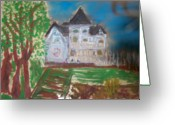 Series Glass Art Greeting Cards - Concannon White House LDT Series Greeting Card by Maggie Cruser