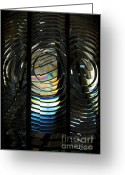 Fresnel Greeting Cards - Concentric Glass Prisms - Water Color Greeting Card by Linda Knorr Shafer