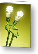 Environment-friendly Greeting Cards - Conceptual lamps Greeting Card by Carlos Caetano