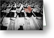 Park Benches Greeting Cards - Concert Benches Greeting Card by Perry Webster