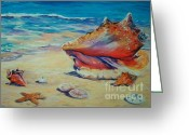 Sea Shell Art Greeting Cards - Conch Shell Greeting Card by John Clark