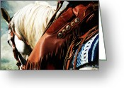 Western Digital Art Greeting Cards - Conchos Greeting Card by Karen Slagle