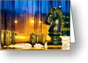 Chess Pieces Greeting Cards - Condescending Knight Greeting Card by Bob Orsillo