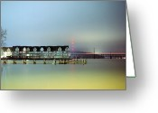 Grace Greeting Cards - Condos At Night Greeting Card by Daniel Regner