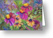 Susan Greeting Cards - Coneflowers and Co Greeting Card by Blenda Tyvoll