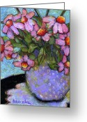"\""floral Still Life\\\"" Greeting Cards - Coneflowers in Lavender Vase Greeting Card by Blenda Tyvoll"