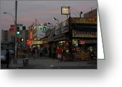 Nathans Greeting Cards - Coney Island at Dusk Greeting Card by Robert Sutton