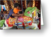 Little Boy Photo Greeting Cards - Coney Island Carousel Greeting Card by Madeline Ellis