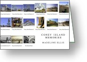 Nathans Greeting Cards - Coney Island Montage Greeting Card by Madeline Ellis