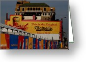 Nathans Greeting Cards - Coney Island Nathans Greeting Card by Christopher Kirby
