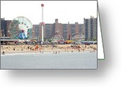 Leisure Activity Greeting Cards - Coney Island, New York Greeting Card by Ryan McVay