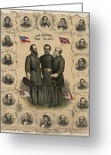Rebel Greeting Cards - Confederate Generals of The Civil War Greeting Card by War Is Hell Store