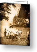 Confederates Greeting Cards - Confederate Soldiers at the Canon Greeting Card by Stephanie Frey