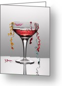 To Kiss Greeting Cards - Confetti Hanging From Glass Of Pink Champagne With Lipstick Stain Greeting Card by Andy Roberts