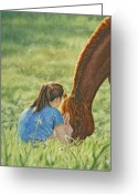 Equines Painting Greeting Cards - Confidante Greeting Card by Simona Tarakeviciute