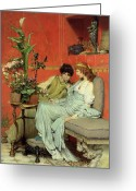 Alma-tadema Greeting Cards - Confidences Greeting Card by Sir Lawrence Alma-Tadema