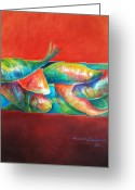 Fish Art Pastels Greeting Cards - Confined but beautiful Greeting Card by Benedict Olorunnisomo