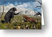 Two-faced Greeting Cards - Confrontation Between An Arctodus Bear Greeting Card by Mark Stevenson